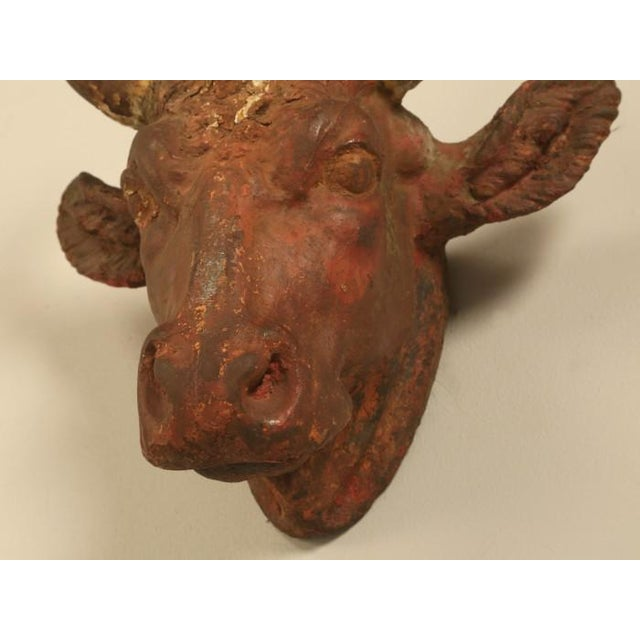 Cabin French Boucherie Cast Iron Steer Head Sign For Sale - Image 3 of 11
