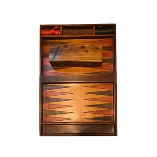 Custom Wood and Dyed Leather Backgammon Table Game Board For Sale