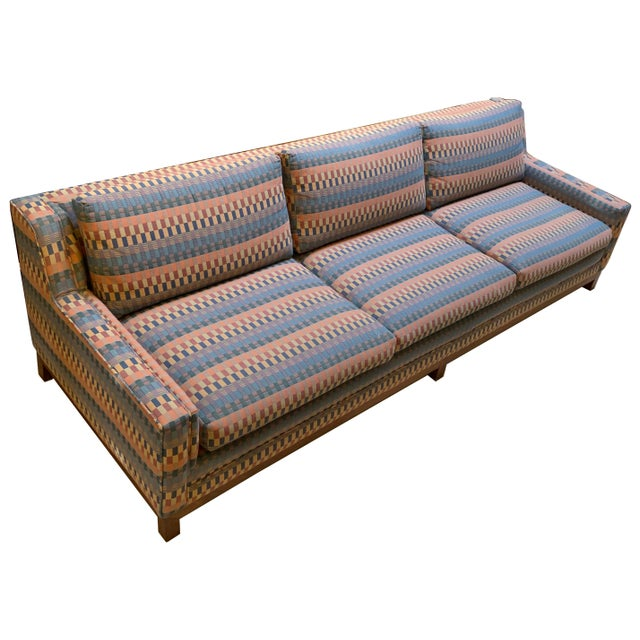 Long mid-century modern sofa by Milo Baughman for Thayer Coggin. The sofa was professionally reupholstered in the 1990s,...