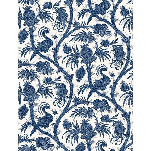 Red by Scalamandre Peel & Stick Wallpaper, Balinese Peacock, Indigo For Sale