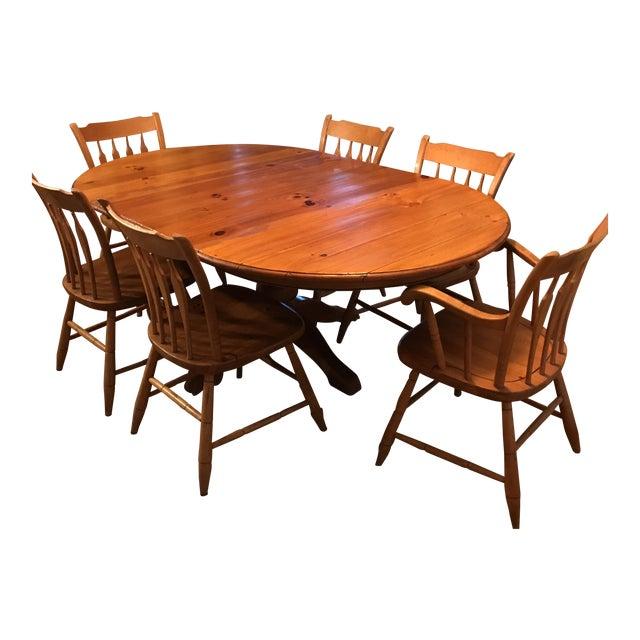 Ethan Allen Farmhouse Pine Table & Chairs- Set of 7 | Chairish