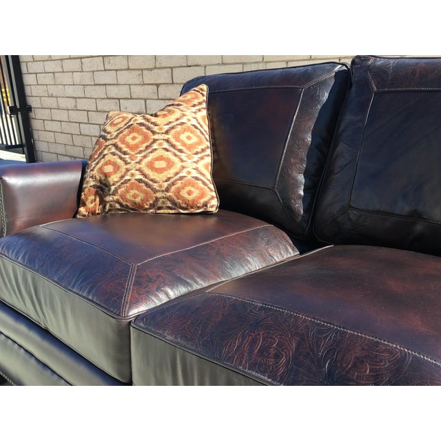 High-End Brown Leather Sofa With Nailhead Trim   Chairish