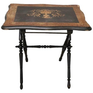 19th Century French Napoleon III Inlaid Wood Folding and Serving Table For Sale