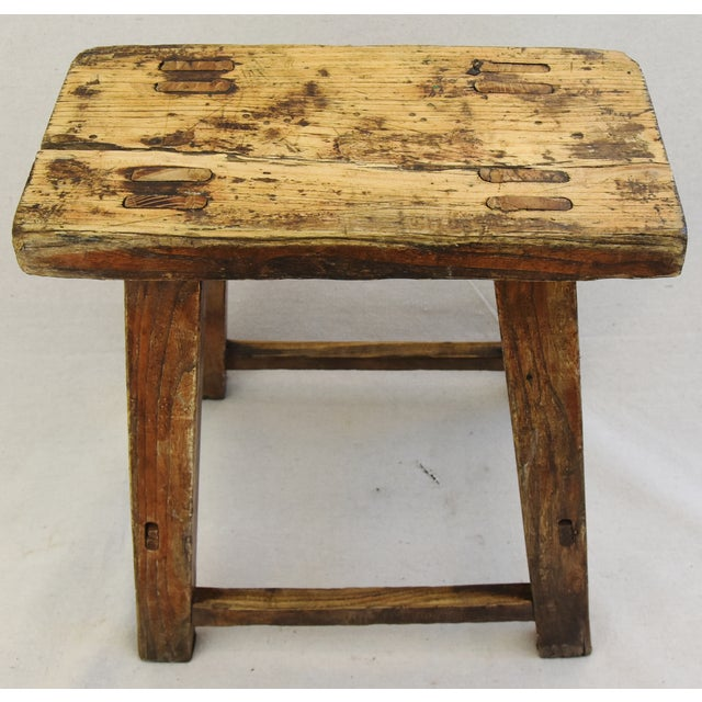 Rustic Primitive Country Wood Farmhouse Stool For Sale - Image 5 of 11