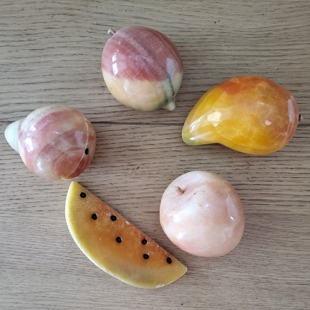 Italian Marble Fruit, 5 Piece For Sale - Image 4 of 6