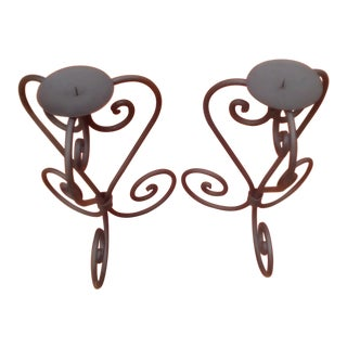 Vintage Scoll Work Wrought Iron Candle Holders - a Pair For Sale