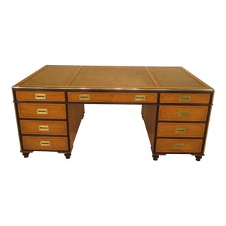 1970s Vintage Baker Satinwood Large Leather Top Executive Partner Desk For Sale