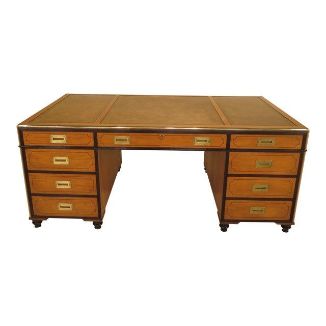 1970s Vintage Baker Satinwood Large Leather Top Executive Partner Desk For Sale