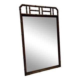 Vintage Henredon Large Chinoiserie Wood Faux Bamboo Mirror For Sale