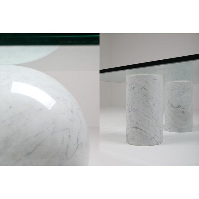 Glass Italian White Marble Coffee Table by Massimo Vignelli For Sale - Image 7 of 8