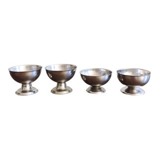 Vintage Stainless Steel Ice Cream Bowls - Set of 4 For Sale