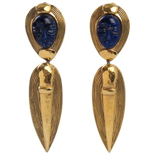 Guy Laroche Paris Signed Clip-On Earrings Dangling Carved Lapis Glass Stone For Sale
