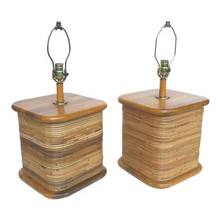 Pair of Rattan Table Lamps in the Style of Paul Frankl For Sale
