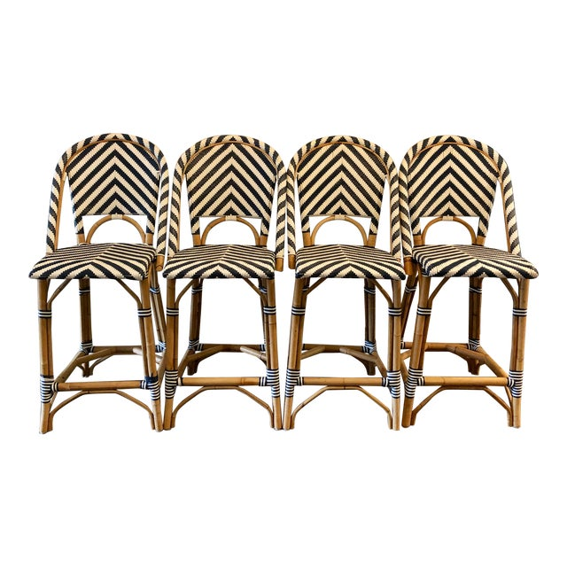 Serena & Lily Chevron Riviera Stools - Set of 4 For Sale