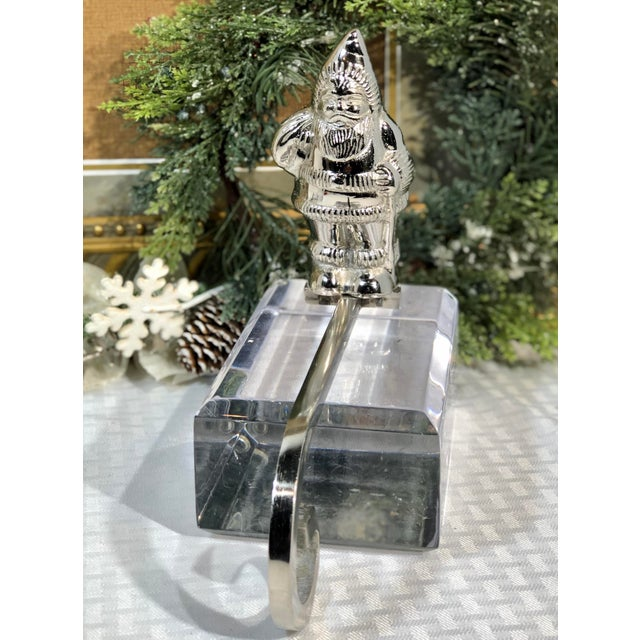 Vintage Silver Plated Christmas Santa Hook Stocking Holder For Sale In Phoenix - Image 6 of 9