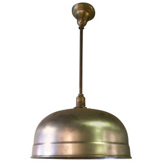 1940s Industrial Brushed Steel Brunswick Dome Pendant Light For Sale