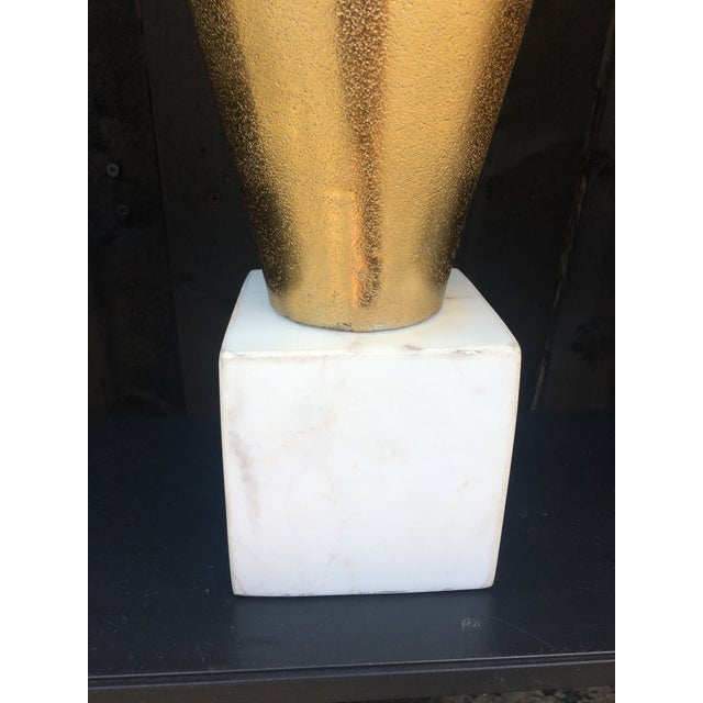 Gold Metal Vases on Marble Bases - a Pair For Sale - Image 4 of 13