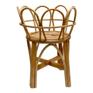 Rattan Bamboo Whimsical Plant Stand For Sale