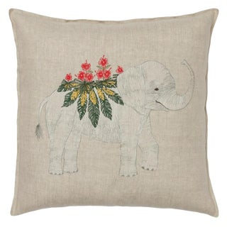 2010s French Ecru Linen Benevolent Elephant Pillow
