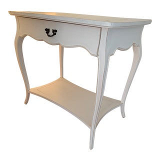 French Country White Wood One-Drawer Side Console Table For Sale