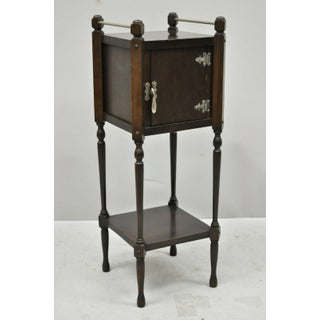 Antique Metal Stamping Corp. Jacobean Gothic Walnut Smoking Tobacco Stand Preview