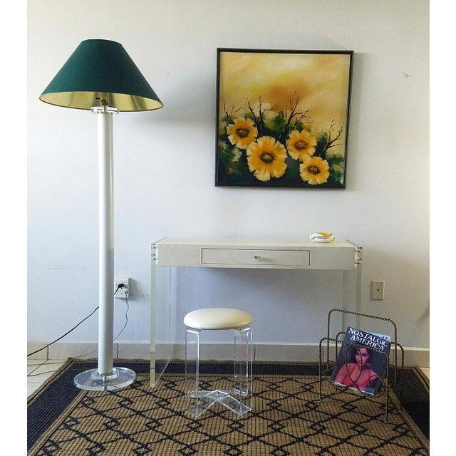 Modern Faux Goat Skin Finish Lucite Wood Desk For Sale - Image 3 of 11