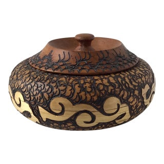 Round Carved Wood Lidded Box