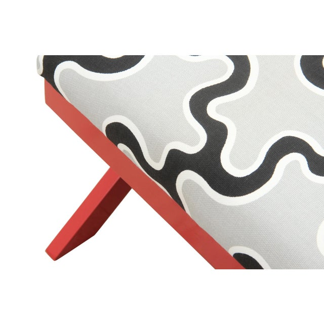 Abstract Cumulus Red Curule Bench For Sale - Image 3 of 7