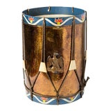 Image of Vintage Military Eagle Tole Drum Side Table For Sale