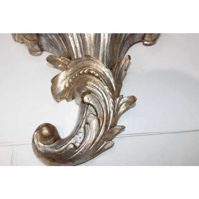 Wood Mid-Century Louis XV Style Brackets Silver Leaf - a Pair For Sale - Image 7 of 11