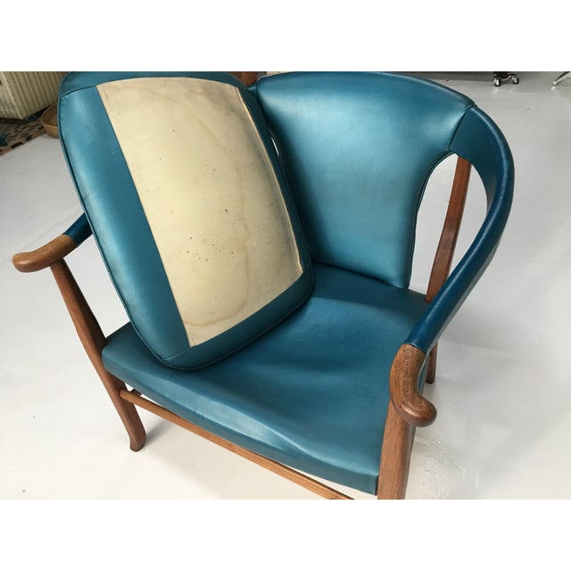 Mid-Century Walnut Ming Horseshoe-Style Slipper Armchair For Sale - Image 10 of 13