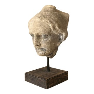 Limestone Roman Bust on Stand For Sale