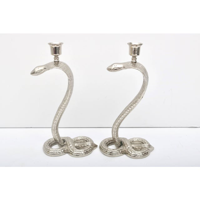1920s 1920s Egyptian Revival Bronze Nickle-Plated Cobra Form Candle Holders - a Pair For Sale - Image 5 of 11