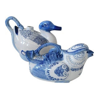 Vintage Chinese Bird Blue and White Porcelain Teapots - a Pair
