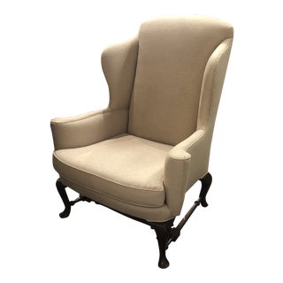 1990s Italian Upholstered Wingback Chair For Sale