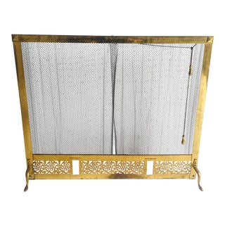 American Continental Style Fireplace Screen Brass/Brass Plates For Sale