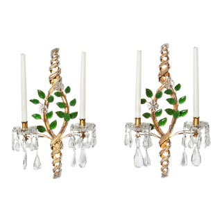 Maison Bagues Style Beaded Sconces With Green Leaves
