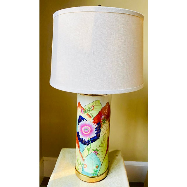 1980s Porcelain Tobacco Leaf Table Lamp For Sale - Image 13 of 13