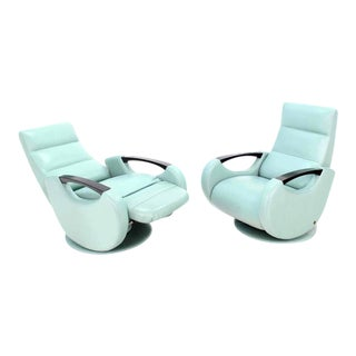 Pair of Mid Century Modern Leather Recliner Lounge Chairs Space Age Design For Sale
