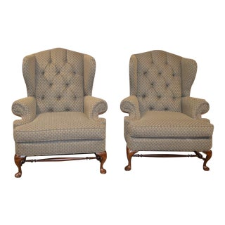 Broyhill Tufted Oversized Wing Chairs- A Pair For Sale