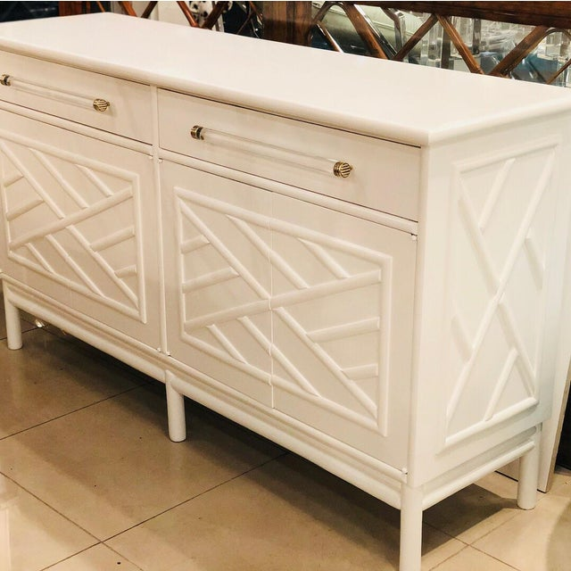 Lacquered White Chinese Chippendale Faux Bamboo Lucite Brass Credenza Buffet - Image 2 of 13