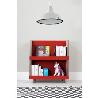"Minimo Modern Kids 31"" Bookcase in Walnut With Red Finish Preview"