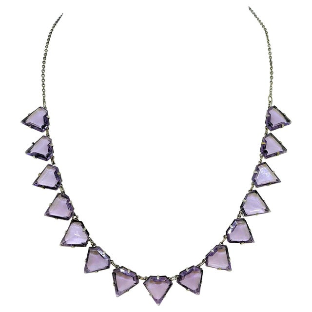 Art Deco Triangular Faceted Purple Glass Necklace For Sale In Los Angeles - Image 6 of 6