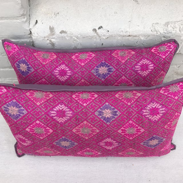 Pink Woven Tribal Pillows-Hmong - A Pair For Sale - Image 4 of 6