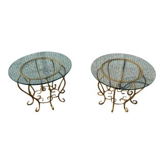 Italian Regency Gilded Twisted Rope Metal & Glass Side Tabels - a Pair For Sale
