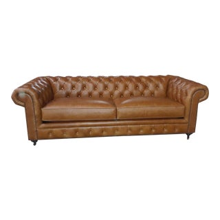 Distressed Saddle Brown Leather Chesterfield Sofa