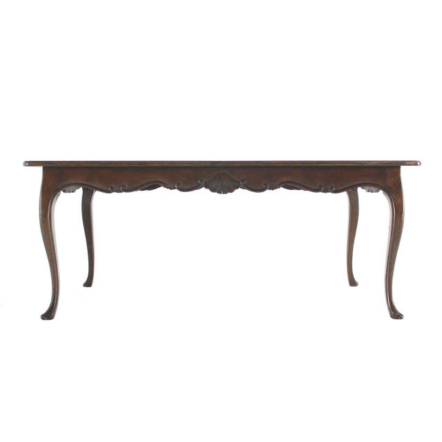 Lacquer Large Baker Parquet Top Dining Table Two Extension Boards For Sale - Image 7 of 8