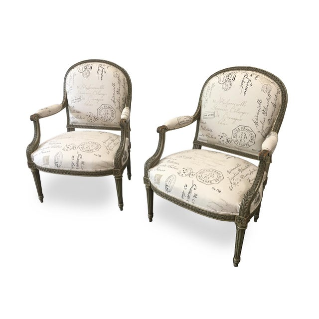 French Antique Painted Armchairs - a Pair For Sale - Image 13 of 13