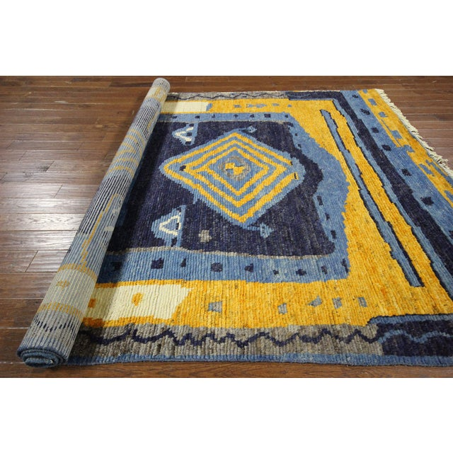 "Blue Wool Tullu Hand Knotted Rug - 7' 10"" X 10' 3"" - Image 8 of 10"