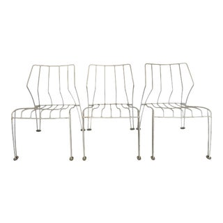 Trio of Metal Stackable Chairs For Sale